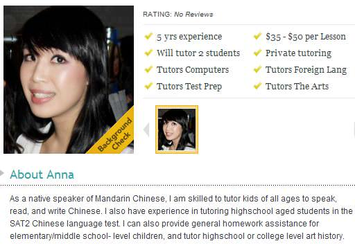 Anna - Mandarin-speaking Chinese private teacher